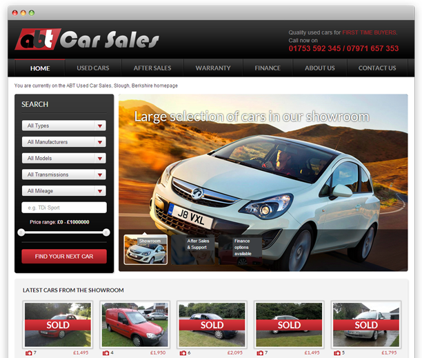 ABT Car Sales - website redesign, WordPress CMS