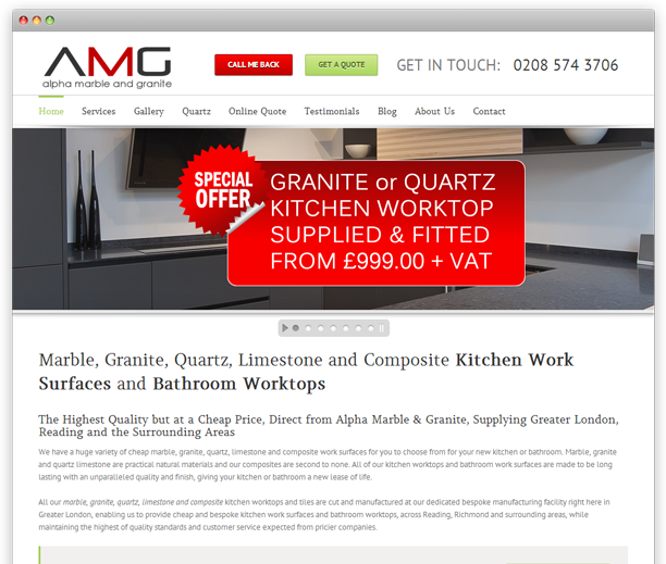 Alpha Marble and Granite - website design, WordPress CMS