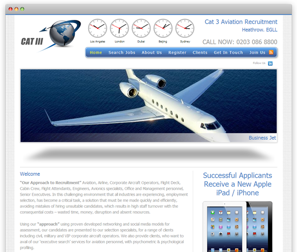 Cat 3 Aviation - website design, WordPress CMS