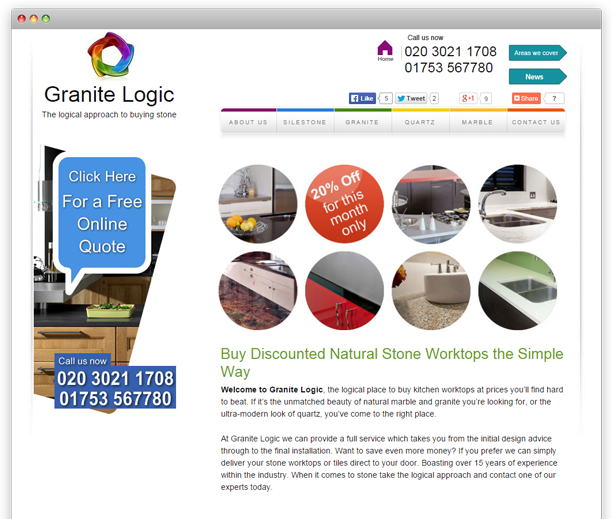 Granite Logic - website redesign, WordPress CMS