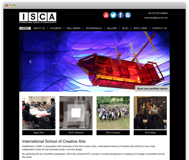 ISCA - International School of Creative Arts - website redesign, WordPress CMS