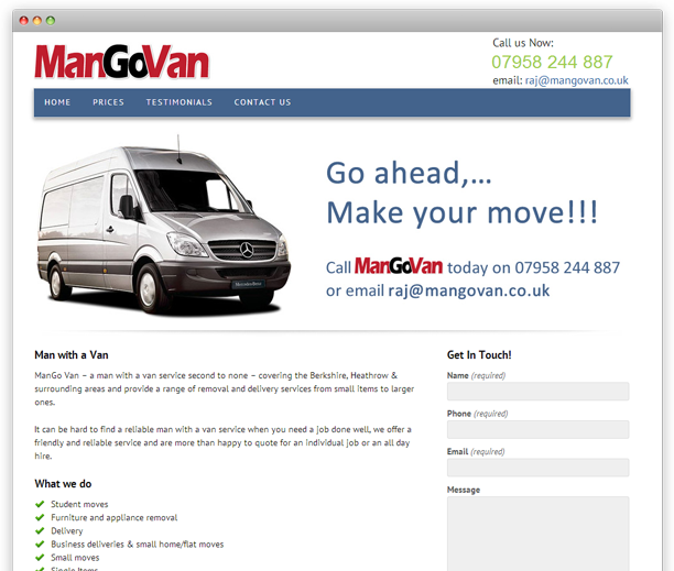 ManGoVan - website design, WordPress CMS