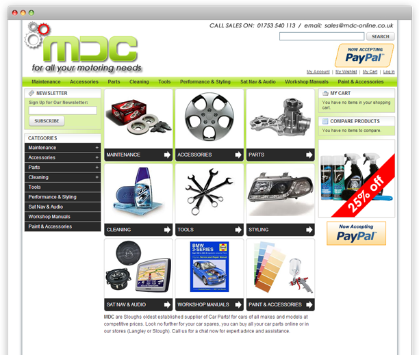 MDC Online - website design, Magento E-commerce