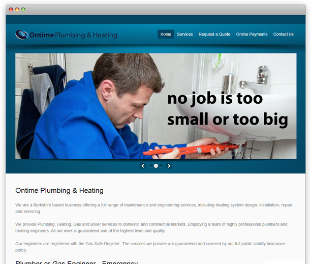 On Time Plumbing and Heating - website design, WordPress CMS