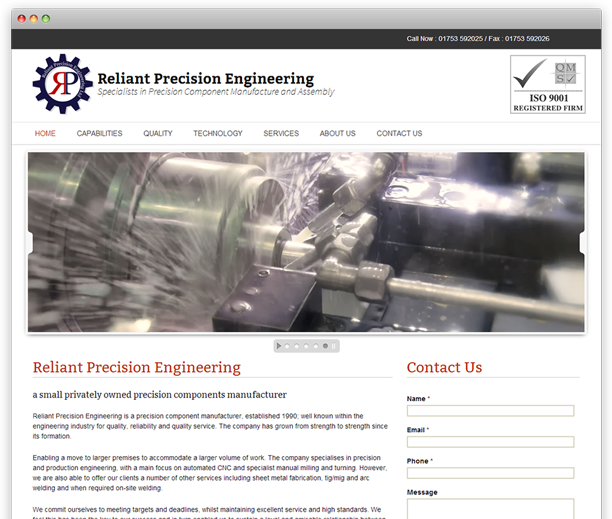 Reliant Precision Engineering - website redesign, WordPress CMS